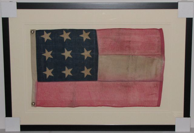Antique Ucv Confederate 9 Star First National Flag
