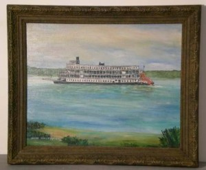 FOLK ART RIVER BOAT PAINTING IMAGE