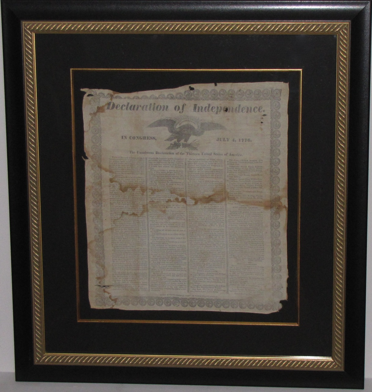 Rare 1835 Printing Of The Declaration Of Independence