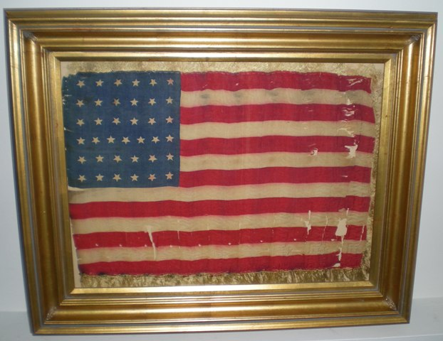 Rare 37 Star Us Army Regimental Flag Indian War Period Sku