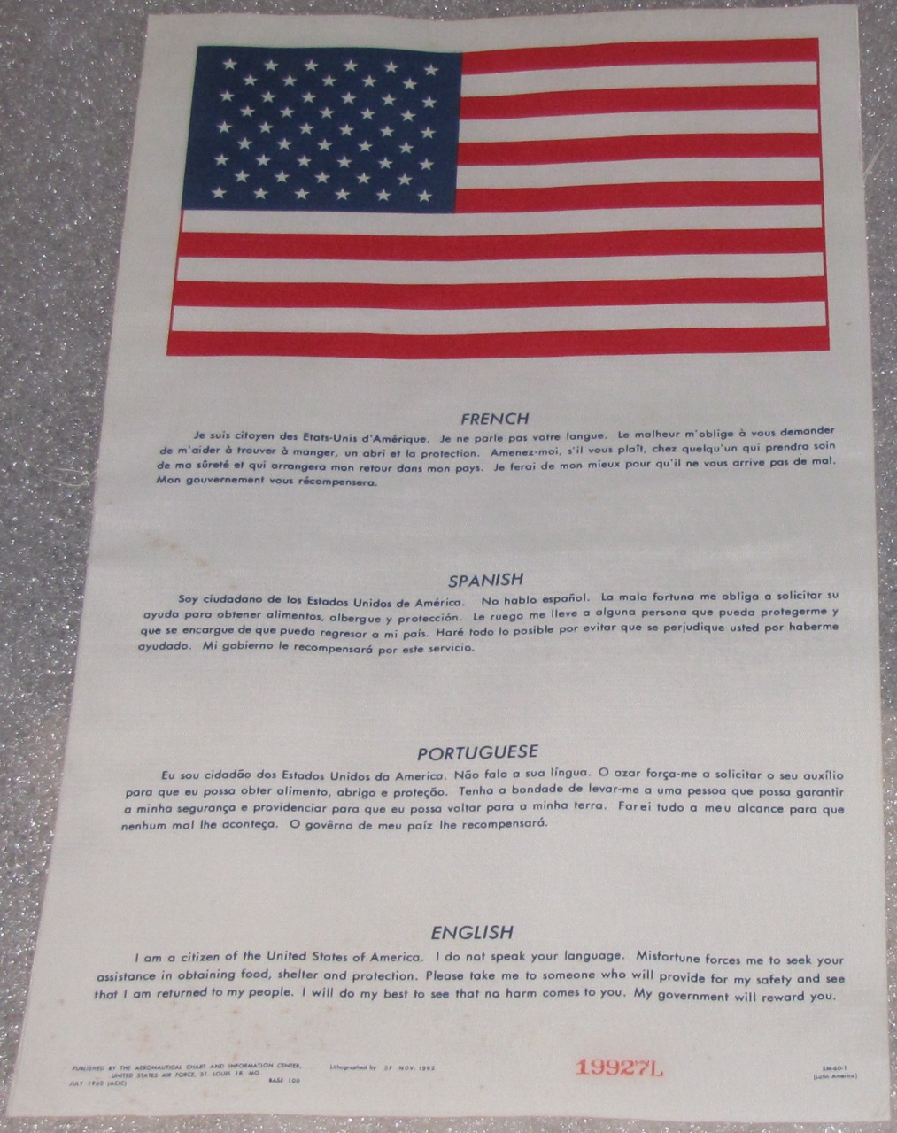 Authentic Us Airforce Pilot Blood Chit Vietnam War Era