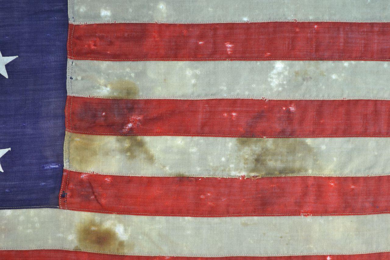 13 Star American Flag Framed Antique