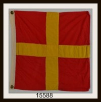 "OLD NAUTICAL SIGNAL FLAG ""R"" IMAGE"