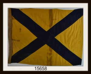 "ANTIQUE NAUTICAL SIGNAL FLAG ""#5"" IMAGE"