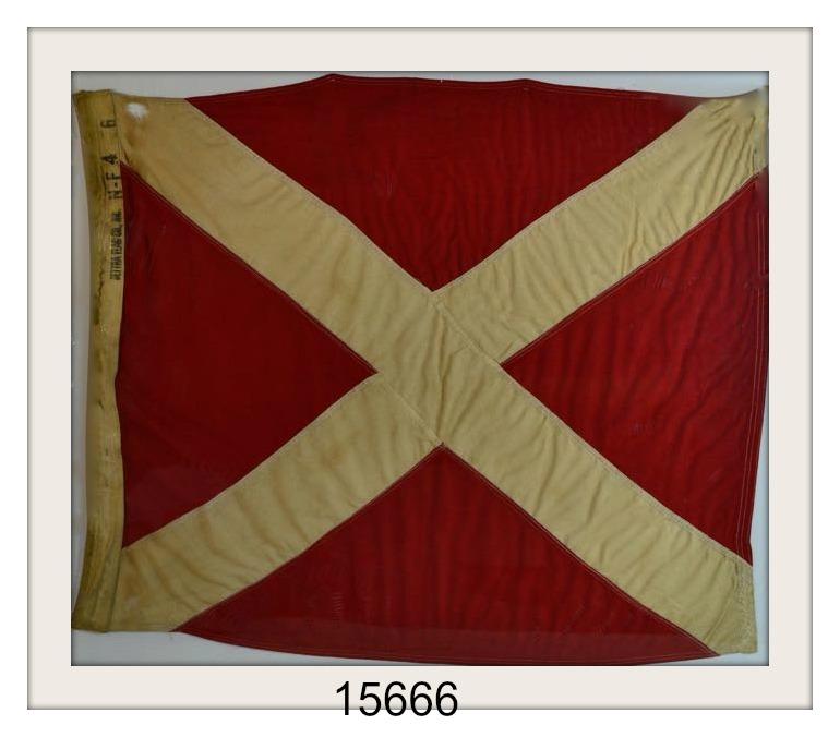 """ANTIQUE NAUTICAL SIGNAL FLAG """"#4"""" IMAGE"""