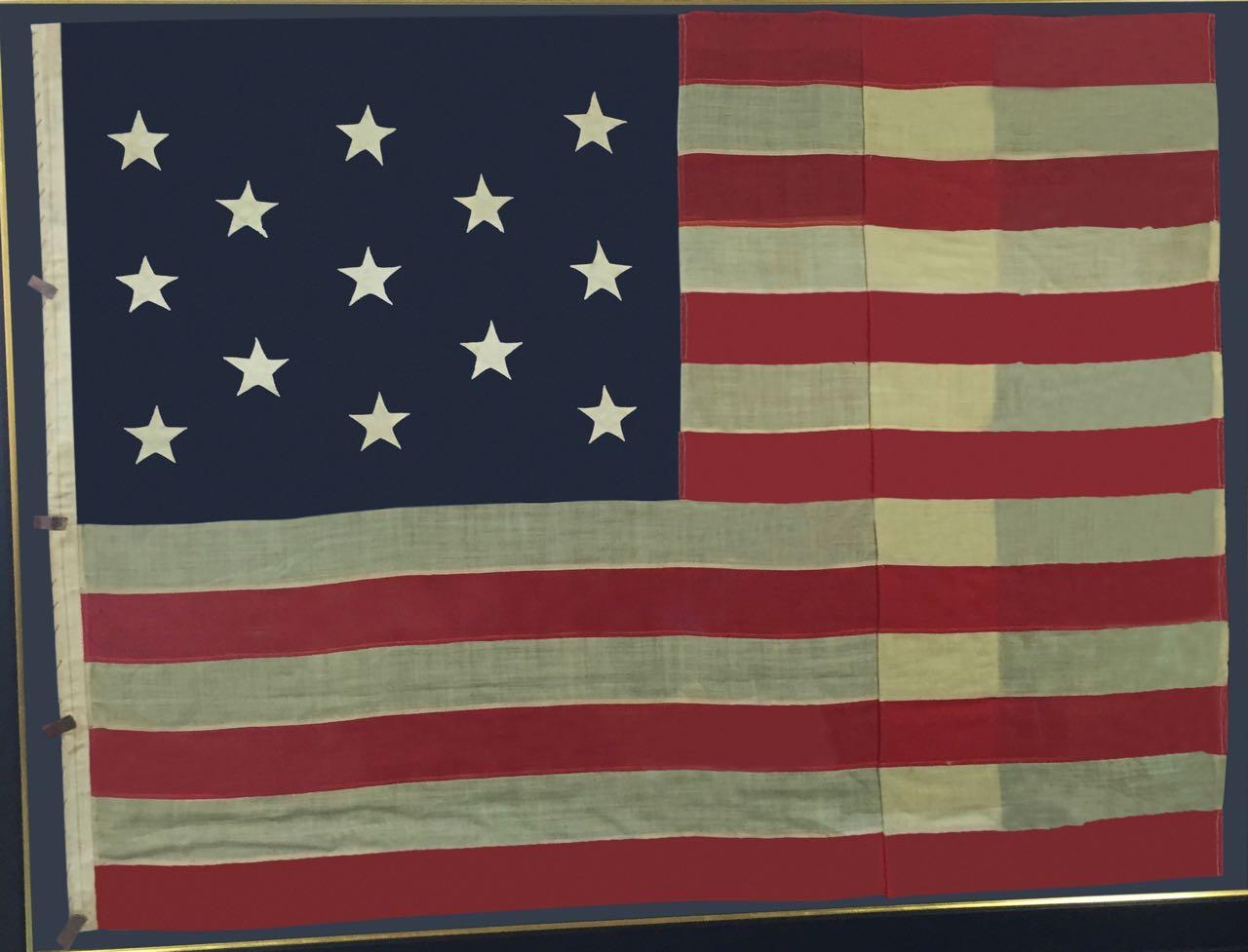 LARGE FRAMED ANTIQUE 13 STAR FLAG IMAGE