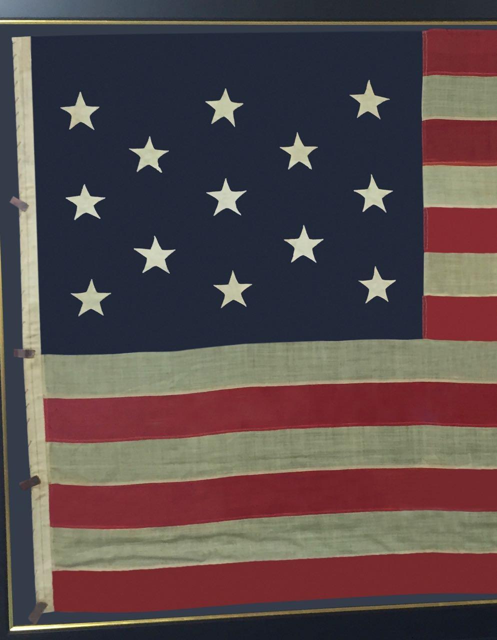 LARGE FRAMED ANTIQUE 13 STAR FLAG IMAGE #
