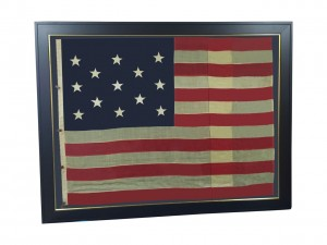 LARGE FRAMED ANTIQUE 13 STAR FLAG IMAGE #