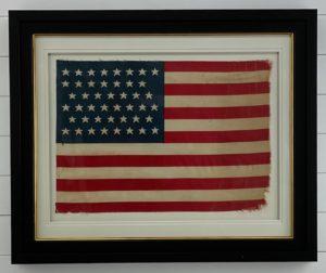 Antique 45 Star American Flag Framed