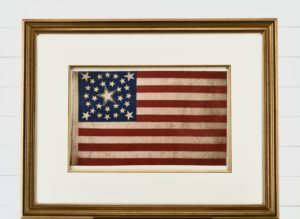 """Rare Antique 30 Star American Flag with """"Halo"""" Star Arrangement"""